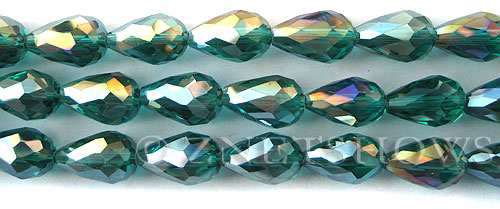 Tiaria Glass Crystal 26AB-Green Zircon AB teardrop Beads <b>15x10mm</b> faceted     per   <b> 12-pc-str</b>