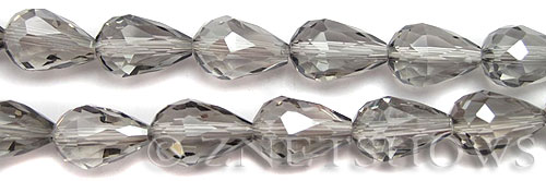 Tiaria Glass Crystal 70-Dark Tan Color teardrop Beads <b>15x10mm</b> faceted     per   <b> 12-pc-str</b>