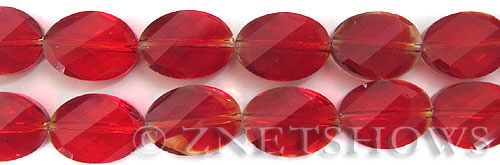Tiaria Glass Crystal 05-Cherry Red marquise spindle Beads <b>18x13mm</b> faceted     per   <b> 8-in-str (11-pc-str)</b>