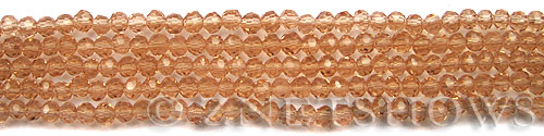 Tiaria Glass Crystal 07-Sweet Peach round Beads <b>4mm</b> faceted     per   <b> 10-str-hank (50-pc-str) </b>