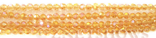 Tiaria Glass Crystal 10AB-Sunglow AB round Beads <b>4mm </b> faceted     per   <b> 10-str-hank (50-pc-str)  </b>