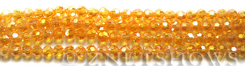 Tiaria Glass Crystal 57AB-Saffron Yellow AB round Beads <b>4mm</b> faceted     per   <b> 10-str-hank  (50-pc-str)</b>