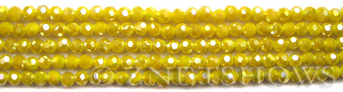 Tiaria Glass Crystal 81AB-Opaque Yellow AB round Beads <b>4mm</b> faceted     per   <b> 10-str-hank (50-pc-str)</b>