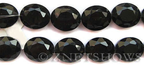 Tiaria Glass Crystal 02-Jet Black Oval Beads <b>30x22mm</b> faceted     per   <b> 6-pc-str</b>
