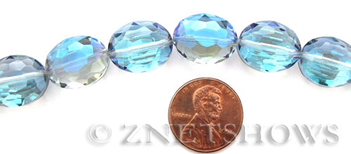 Tiaria Glass Crystal 123-Meridian Blue oval Beads <b>16x12mm</b> faceted     per   <b> 18-pc-str</b>