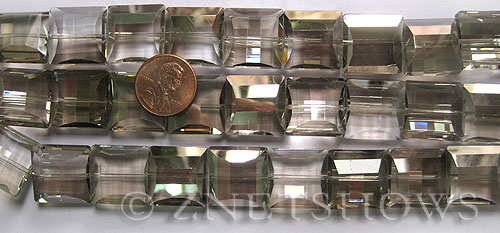 Tiaria Glass Crystal 70-Dark Tan Color square Beads <b>14x14mm</b> faceted     per   <b> 12-pc-str</b>