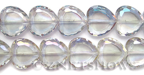 Tiaria Glass Crystal 123-Meridian Blue heart Beads <b>22mm </b> faceted      per   <b> 10-pc-str </b>
