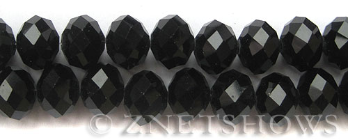 Tiaria Glass Crystal 02-Jet Black rondelle Beads <b>16x12mm </b> faceted     per   <b> 12-pc-str </b>