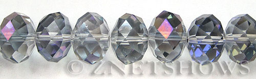 Tiaria Glass Crystal 121-Half Heliotrope rondelle Beads <b>18x13mm </b> faceted      per   <b> 10-pc-str </b>