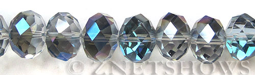 Tiaria Glass Crystal 123-Meridian Blue rondelle Beads <b>18x13mm </b> faceted      per   <b> 10-pc-str </b>