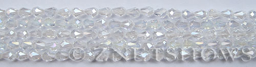 Tiaria Glass Crystal 01AB-Crystal AB teardrop Beads <b>6x4mm</b> faceted     per   <b> 10-str-hank (35-pc-str)</b>