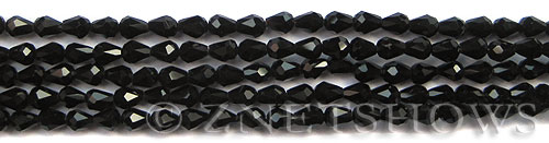 Tiaria Glass Crystal 02-Jet Black teardrop Beads <b>6x4mm</b> faceted     per   <b> 10-str-hank (35-pc-str)</b>