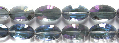 Tiaria Glass Crystal 121-Half Heliotrope oval Beads <b>22x13mm</b> faceted     per   <b> 12-pc-str</b>