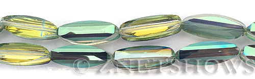 Tiaria Glass Crystal 122-Viridian Green oval Beads <b>25x9mm</b> faceted     per   <b> 8-pc-str</b>