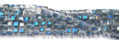 Tiaria Glass Crystal 123-Meridian Blue cube Beads <b>4mm </b> faceted     per   <b> 10-str-hank  (50-pc-str)</b>