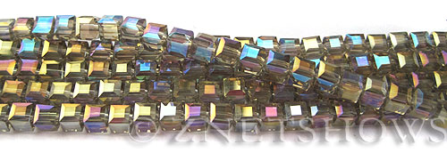 Tiaria Glass Crystal 13AB-Light Smoky Topaz AB cube Beads <b>4mm</b> faceted     per   <b> 10-str-hank (50-pc-str)</b>