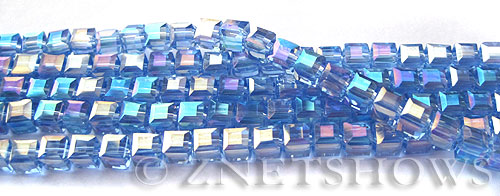 Tiaria Glass Crystal 31AB-Light Sapphire AB cube Beads <b>4mm</b> faceted     per   <b> 10-str-hank (50-pc-str)</b>