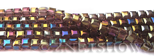 Tiaria Glass Crystal 37AB-Medium Amethyst AB cube Beads <b>4mm </b> faceted     per   <b> 10-str-hank  (50-pc-str)</b>