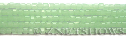 Tiaria Glass Crystal 43-Opaque Seafoam Green cube Beads <b>4mm</b> faceted     per   <b> 10-str-hank (50-pc-str)</b>