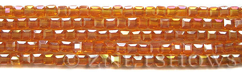 Tiaria Glass Crystal 57AB-Saffron Yellow AB cube Beads <b>4mm</b> faceted     per   <b> 10-str-hank (50-pc-str)</b>