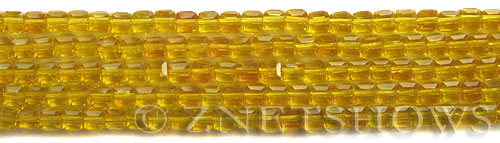 Tiaria Glass Crystal 84-Lemon cube Beads <b>4mm</b> faceted     per   <b> 10-str-hank (50-pc-str)</b>