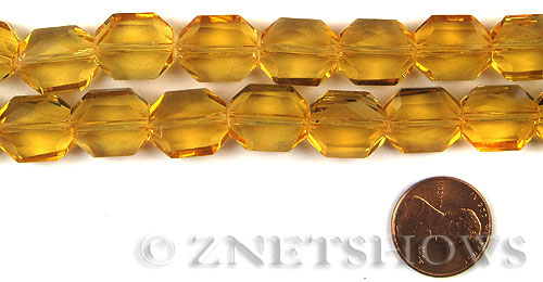 Tiaria Glass Crystal 16-Desert Gold octagon Beads <b>14x12mm</b> faceted     per   <b> 6-in-str (11-pc-str)</b>