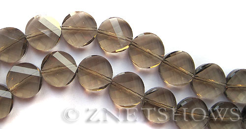 Tiaria Glass Crystal 15-Smoky Quartz  coin Beads <b>14mm</b> twisted     per   <b> 8-in-str (15-pc-str)</b>