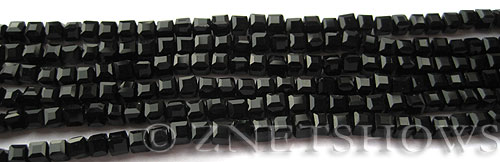 Tiaria Glass Crystal 02-Jet Black cube Beads <b>3mm </b> faceted     per   <b> 10-str-hank  (71-pc-str) </b>