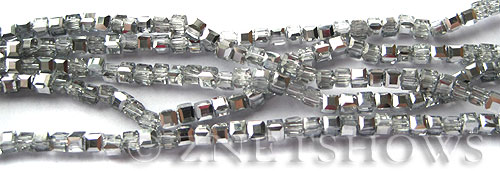 Tiaria Glass Crystal 101-Silver Ice cube Beads <b>3mm </b> faceted     per   <b> 10-str-hank  (71-pc-str) </b>