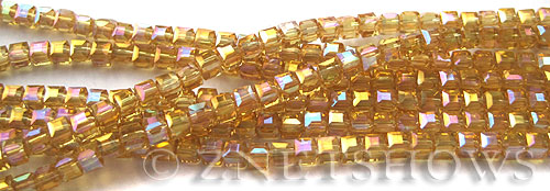 Tiaria Glass Crystal 11AB-Gold Champagne AB cube Beads <b>3mm </b> faceted     per   <b> 10-str-hank  (71-pc-str) </b>