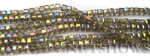 Tiaria Glass Crystal 13AB-Light Smoky Topaz AB cube Beads <b>3mm </b> faceted     per   <b> 10-str-hank  (71-pc-str) </b>