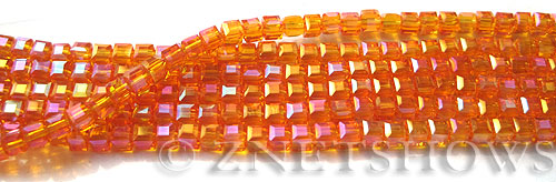 Tiaria Glass Crystal 57AB-Saffron Yellow AB cube Beads <b>3mm </b> faceted     per   <b> 10-str-hank  (71-pc-str) </b>