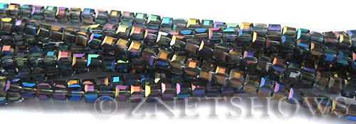 Tiaria Glass Crystal Montana Blue cube Beads <b>3mm </b> faceted   per   <b> 10-str-hank (71-pc-str) </b>