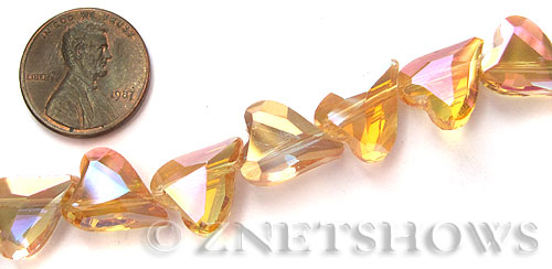 Tiaria Glass Crystal Transparent Gold heart Beads <b>14x11mm</b> faceted   per   <b> 14-pc-str</b>