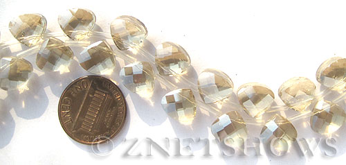 Tiaria Glass Crystal 69-Tan Color teardrop Beads <b>10x9mm</b> faceted     per   <b> 16-pc-str</b>