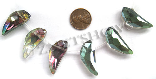 Tiaria Glass Crystal 120-Sahara Green Other Shapes Beads <b>30x12mm</b> faceted Capsicum     per   <b> 6-pc-str</b>