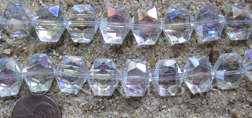 Tiaria Glass Crystal 01AB-Crystal AB hexagon Beads <b>14x12mm</b> faceted     per   <b> 17-pc-str</b>