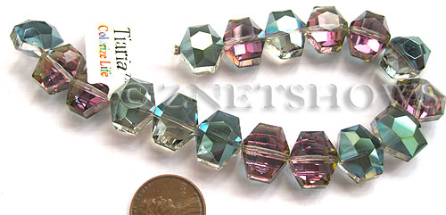 Tiaria Glass Crystal 120-Sahara Green hexagon Beads <b>14x12mm</b> faceted     per   <b> 8-in-str (17-pc-str)</b>