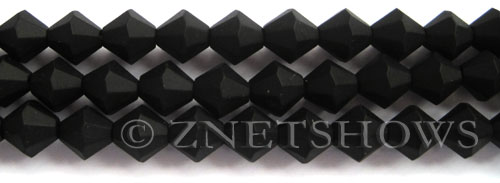 Tiaria Glass Crystal 02-Jet Black bicone Beads <b>10mm</b> faceted     per   <b> 8-in-str</b>