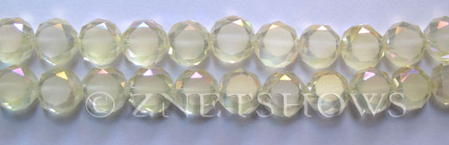 Tiaria Glass Crystal light yellow with Matte sides coin Beads <b>10mm</b> faceted   per   <b> 23-pc-str</b>