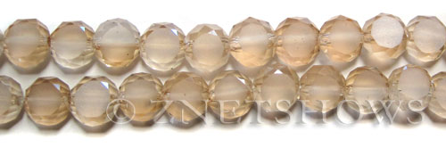 Tiaria Glass Crystal 68-Light Yellow coin Beads <b>8mm</b> faceted with Matte sides    per   <b> 28-pc-str</b>