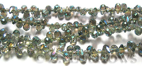 Tiaria Glass Crystal 122-Veridian Green teardrop Beads <b>9x6mm	</b> faceted tip-drilled    per   <b> 100-pc-str</b>