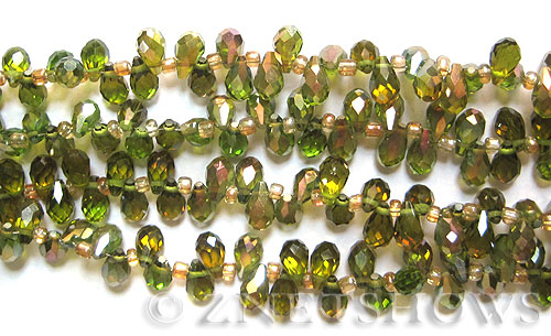Tiaria Glass Crystal 22-Olive teardrop Beads <b>9x6mm </b> faceted     per   <b> 100-pc-str</b>