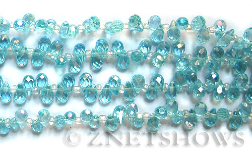 Tiaria Glass Crystal 28AB-Turquoise Bay AB teardrop Beads <b>9x6mm</b> faceted     per   <b> 100-pc-str</b>