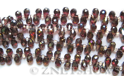Tiaria Glass Crystal 37AB-Medium Amethyst AB teardrop Beads <b>9x6mm</b> faceted     per   <b> 100-pc-str</b>