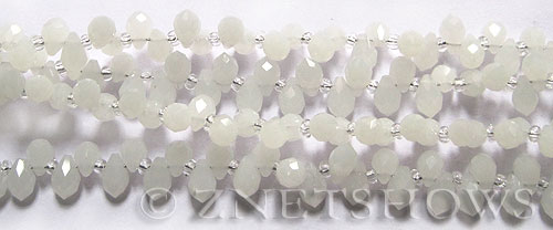 Tiaria Glass Crystal 42-Opaque White teardrop Beads <b>9x6mm	</b> faceted tip-drilled    per   <b> 100-pc-str</b>