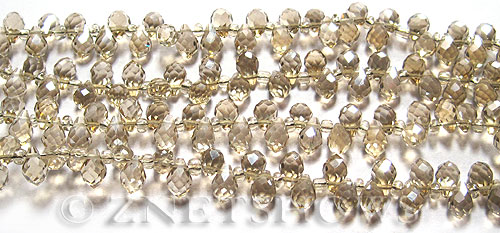 Tiaria Glass Crystal 69-Tan Color teardrop Beads <b>9x6mm</b> faceted tip-drilled    per   <b> 100-pc-str</b>