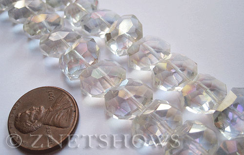 Tiaria Glass Crystal 01AB-Crystal AB nugget Beads <b>14x10mm </b> faceted     per   <b> 17-pc-str </b>