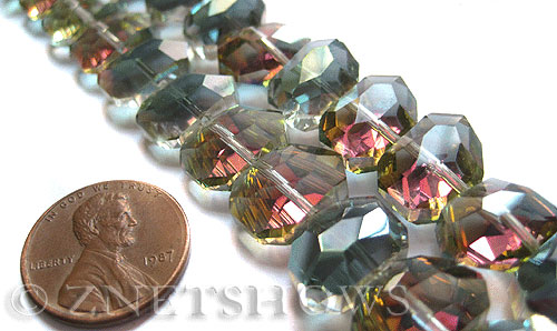 Tiaria Glass Crystal 120-Sahara Green nugget Beads <b>14x10mm </b> faceted     per   <b> 17-pc-str </b>