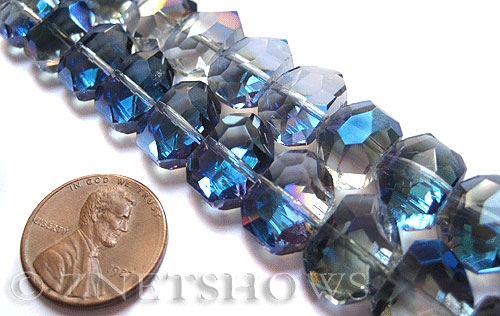 Tiaria Glass Crystal 123-Meridian Blue nugget Beads <b>14x10mm </b> faceted     per   <b> 17-pc-str </b>